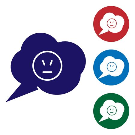 Blue Speech bubble with angry smile icon isolated on white background. Emoticon face. Set color icons in circle buttons. Vector Illustration Çizim