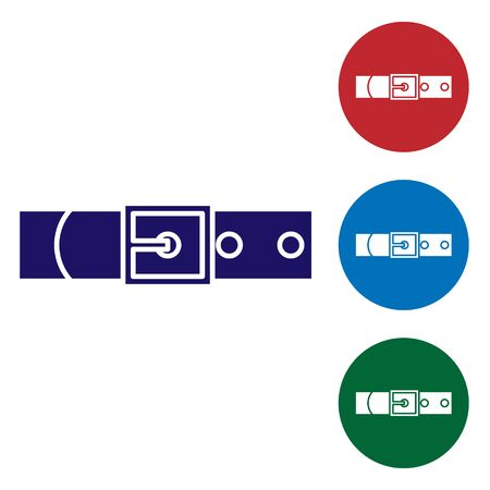 Blue Leather belt with buttoned steel buckle icon isolated on white background. Set color icons in circle buttons. Vector Illustration
