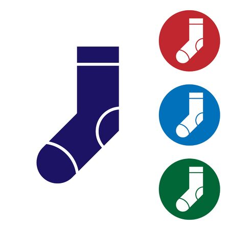 Blue Socks icon isolated on white background. Set color icons in circle buttons. Vector Illustration