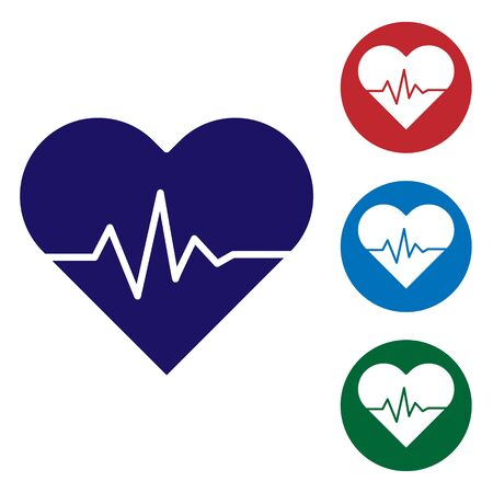 Blue Heart rate icon isolated on white background. Heartbeat sign. Heart pulse icon. Cardiogram icon. Set color icons in circle buttons. Vector Illustration Illustration