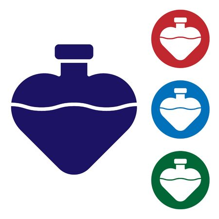 Blue Bottle with love potion icon isolated on white background. Valentines day symbol. Set color icons in circle buttons. Vector Illustration