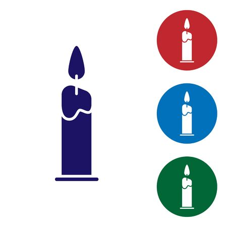 Blue Burning candle in candlestick icon isolated on white background. Cylindrical candle stick with burning flame. Set color icons in circle buttons. Vector Illustration