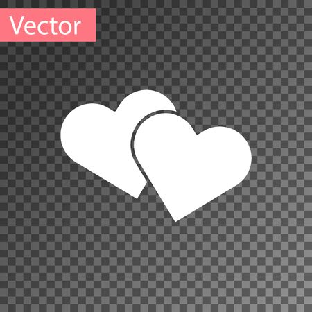 White Heart icon isolated on transparent background. Romantic symbol linked, join, passion and wedding. Valentine day symbol. Vector Illustration