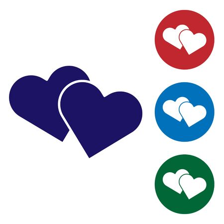 Blue Heart icon isolated on white background. Romantic symbol linked, join, passion and wedding. Valentine day symbol. Set color icons in circle buttons. Vector Illustration