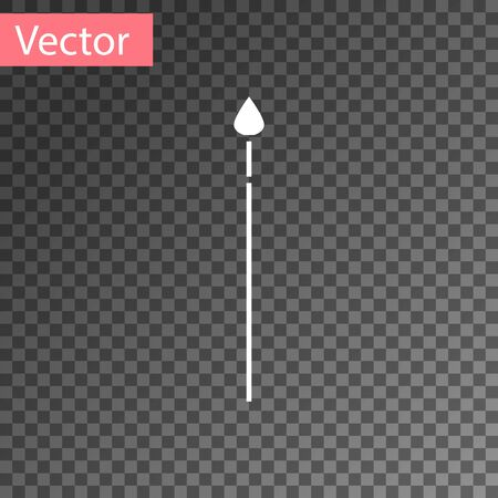 White Medieval spear icon isolated on transparent background. Medieval weapon. Vector Illustration