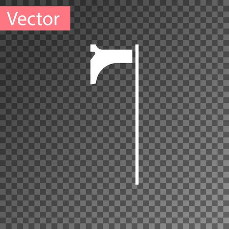White Medieval axe icon isolated on transparent background. Battle axe, executioner axe. Medieval weapon. Vector Illustration