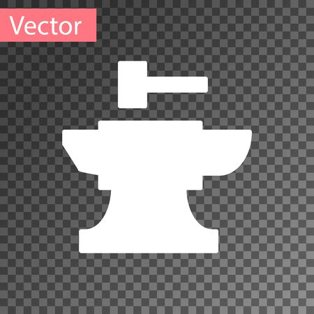 White Anvil for blacksmithing and hammer icon isolated on transparent background. Metal forging. Forge tool. Vector Illustration Ilustracja