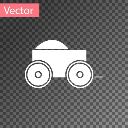 White Wooden four-wheel cart with hay icon isolated on transparent background. Vector Illustration Ilustração