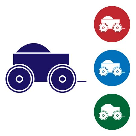Blue Wooden four-wheel cart with hay icon isolated on white background. Set color icons in circle buttons. Vector Illustration