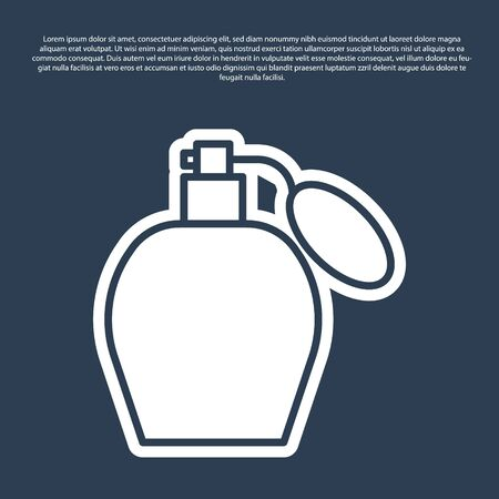 Blue line Perfume icon isolated on blue background. Vector Illustration