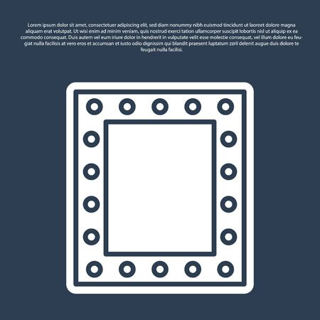 Blue line Makeup mirror with lights icon isolated on blue background. Vector Illustration