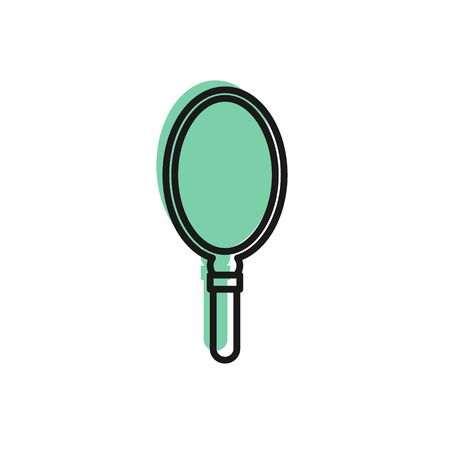 Black line Hand mirror icon isolated on white background.  Vector Illustration