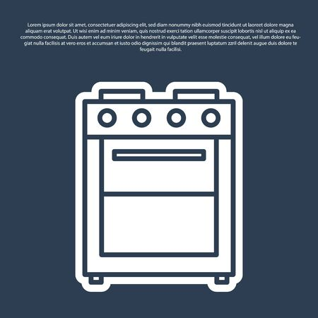 Blue line Oven icon isolated on blue background. Stove gas oven sign. Vector Illustration
