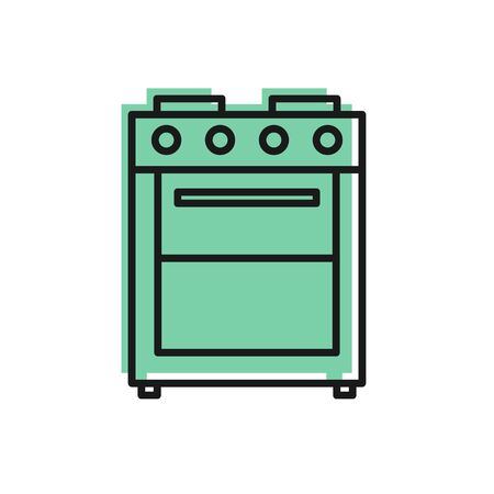 Black line Oven icon isolated on white background. Stove gas oven sign. Vector Illustration  イラスト・ベクター素材
