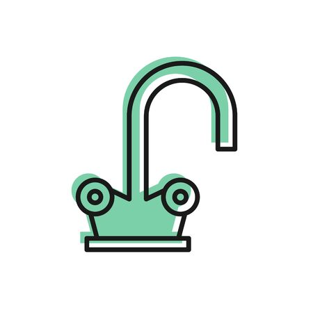 Black line Water tap icon isolated on white background. Vector Illustration