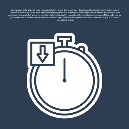 Blue line Stopwatch icon isolated on blue background. Time timer sign. Chronometer. Vector Illustration