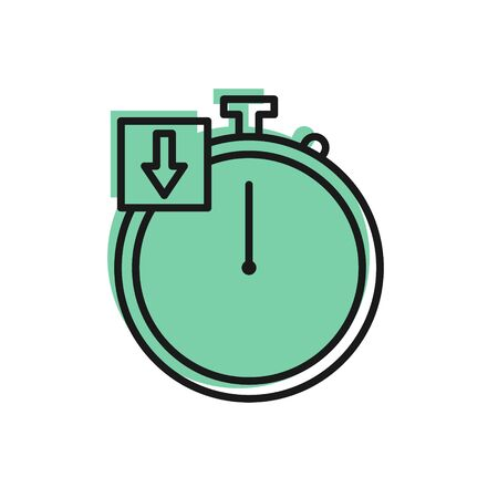 Black line Stopwatch icon isolated on white background. Time timer sign. Chronometer. Vector Illustration