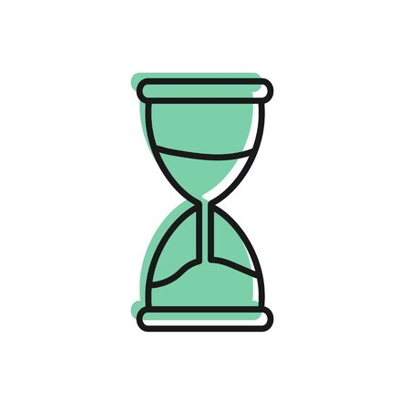 Black line Old hourglass with flowing sand icon isolated on white background. Sand clock sign. Business and time management concept. Vector Illustration