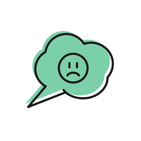 Black line Speech bubble with sad smile icon isolated on white background. Emoticon face. Vector Illustration