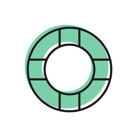 Black line Lifebuoy icon isolated on white background. Lifebelt symbol. Vector Illustration