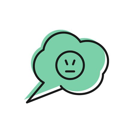 Black line Speech bubble with angry smile icon isolated on white background. Emoticon face. Vector Illustration Çizim