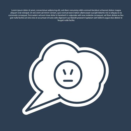 Blue line Speech bubble with angry smile icon isolated on blue background. Emoticon face. Vector Illustration