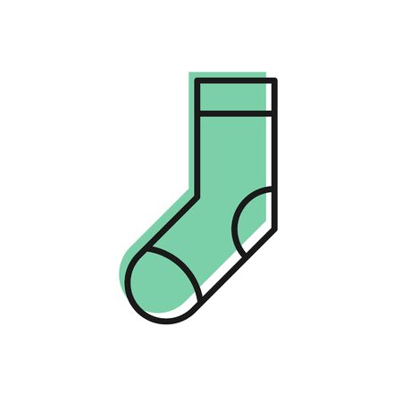 Black line Socks icon isolated on white background. Vector Illustration
