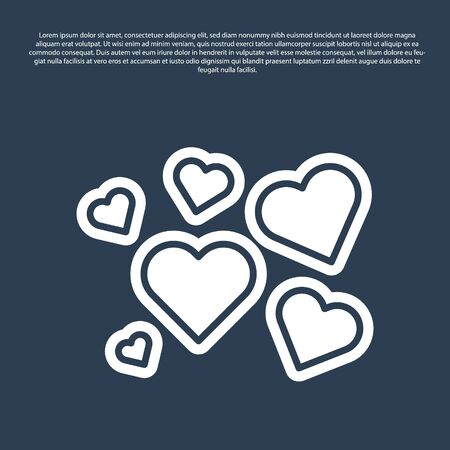 Blue line Heart icon isolated on blue background. Romantic symbol linked, join, passion and wedding. Valentine day symbol. Vector Illustration