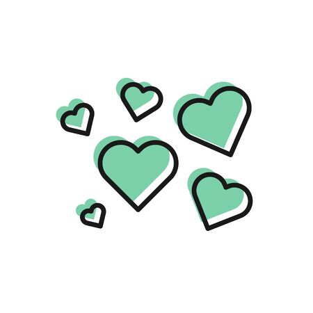 Black line Heart icon isolated on white background. Romantic symbol linked, join, passion and wedding. Valentine day symbol. Vector Illustration 일러스트