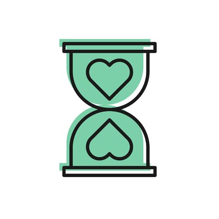 Black line Heart in the center old hourglass icon isolated on white background. Valentines day. Vector Illustration