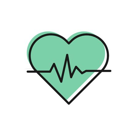 Black line Heart rate icon isolated on white background. Heartbeat sign. Heart pulse icon. Cardiogram icon. Vector Illustration