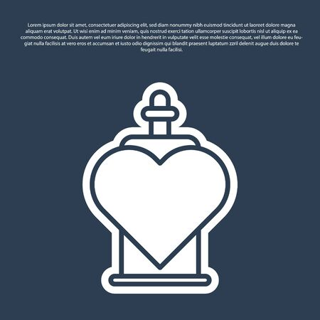 Blue line Bottle with love potion icon isolated on blue background. Valentines day symbol. Vector Illustration