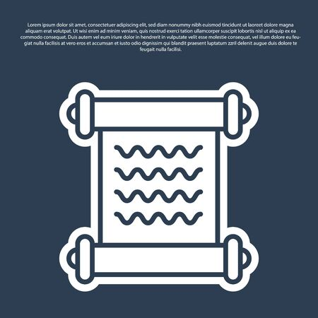 Blue line Decree, paper, parchment, scroll icon icon isolated on blue background. Vector Illustration Ilustração