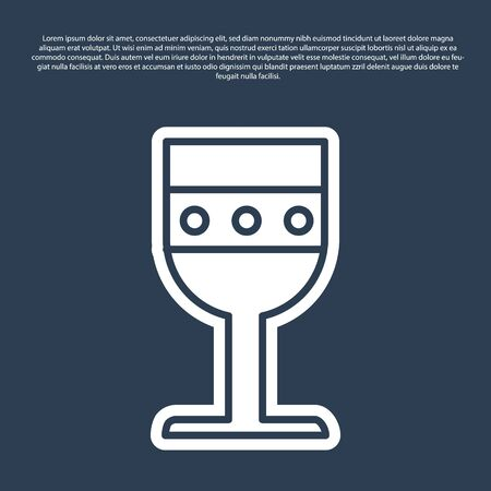 Blue line Medieval goblet icon isolated on blue background. Vector Illustration