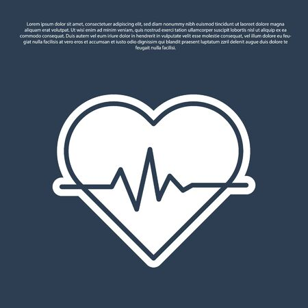 Blue line Heart rate icon isolated on blue background. Heartbeat sign. Heart pulse icon. Cardiogram icon. Vector Illustration