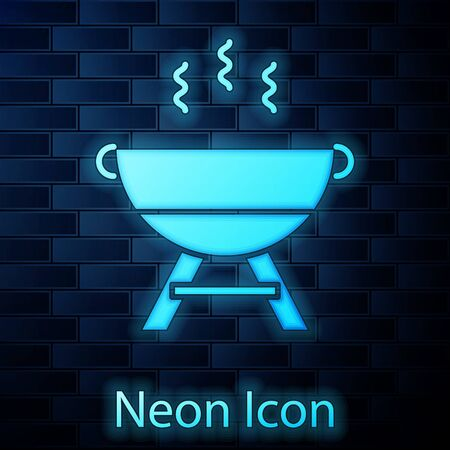 Glowing neon Barbecue grill icon isolated on brick wall background. BBQ grill party. Vector Illustration