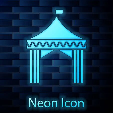 Glowing neon Camping tent icon isolated on brick wall background. Carnival camping tent. Amusement park.  Vector Illustration Illustration