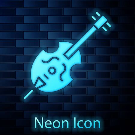 Glowing neon Violin icon isolated on brick wall background. Musical instrument.  Vector Illustration