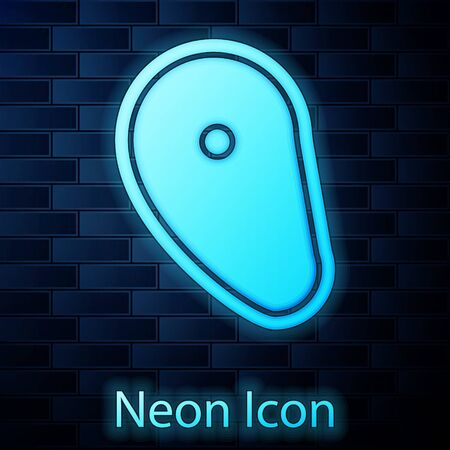 Glowing neon Steak meat icon isolated on brick wall background.  Vector Illustration