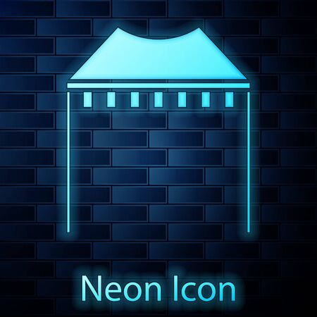 Glowing neon Camping tent icon isolated on brick wall background. Carnival camping tent. Amusement park. Vector Illustration