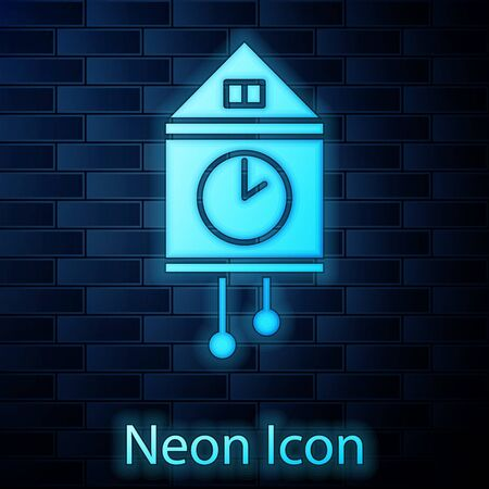 Glowing neon Retro wall watch icon isolated on brick wall background. Cuckoo clock sign. Antique pendulum clock. Vector Illustration