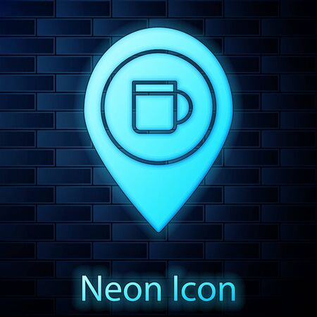 Glowing neon Alcohol or beer bar location icon isolated on brick wall background. Symbol of drinking, pub, club, bar. Vector Illustration