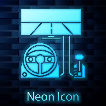 Glowing neon Racing simulator cockpit icon isolated on brick wall background. Gaming accessory. Gadget for driving simulation game. Vector Illustration Illustration