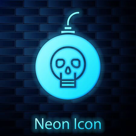 Glowing neon Bomb ready to explode icon isolated on brick wall background. Happy Halloween party. Vector Illustration Çizim