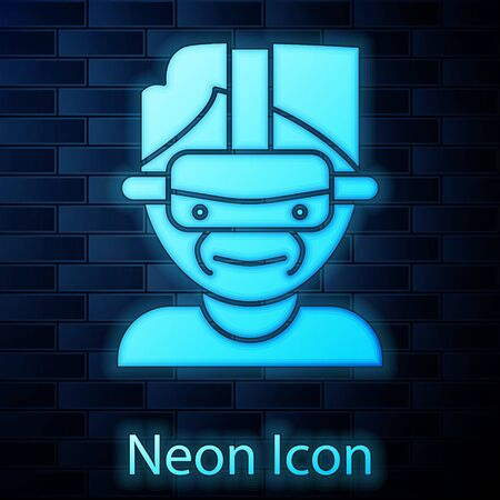 Glowing neon Virtual reality glasses icon isolated on brick wall background. Stereoscopic 3d vr mask. Vector Illustration 向量圖像