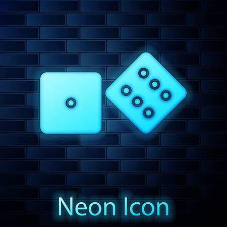 Glowing neon Game dice icon isolated on brick wall background. Casino gambling. Vector Illustration Çizim