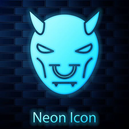 Glowing neon Mask of the devil with horns icon isolated on brick wall background. Vector Illustration
