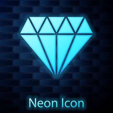 Glowing neon Diamond icon isolated on brick wall background. Jewelry symbol. Gem stone. Vector Illustration Illusztráció
