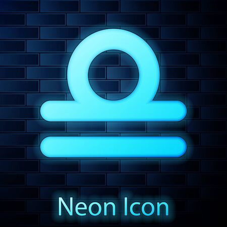 Glowing neon Libra zodiac sign icon isolated on brick wall background. Astrological horoscope collection. Vector Illustration 向量圖像
