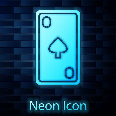 Glowing neon Playing card with diamonds symbol icon isolated on brick wall background. Casino gambling. Vector Illustration